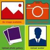 Színes készlet nincs kép áll rendelkezésre, vagy kép, nincs kép: üres kép, kamera, fotózás ikonja és sziluettje egy férfi. Hiányzó kép ikon vagy feltöltő mozi. vektoros illusztráció