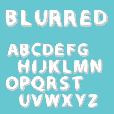 Burred label font and sample label design. Vector Alphabet Set. stock vector illustration