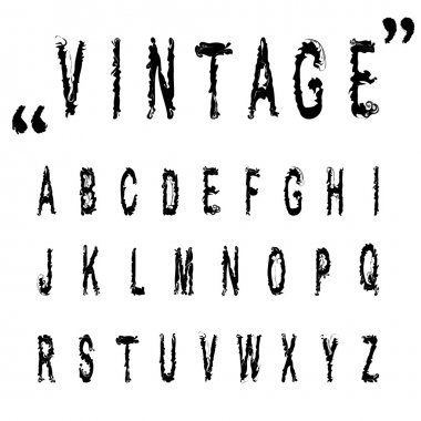 Hand drawn letters, vintage vector alphabet ABC .Nice font for your design. stock vector illustration