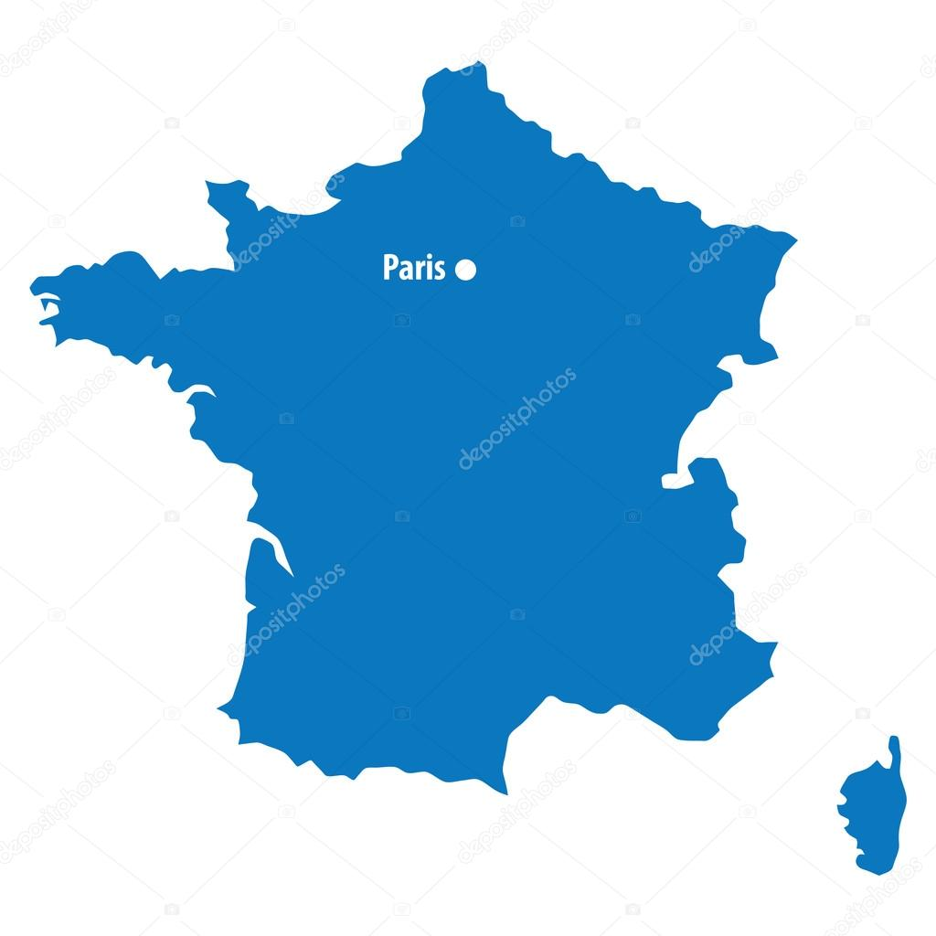 Blue similar France map with capital city Paris. France map blank ...