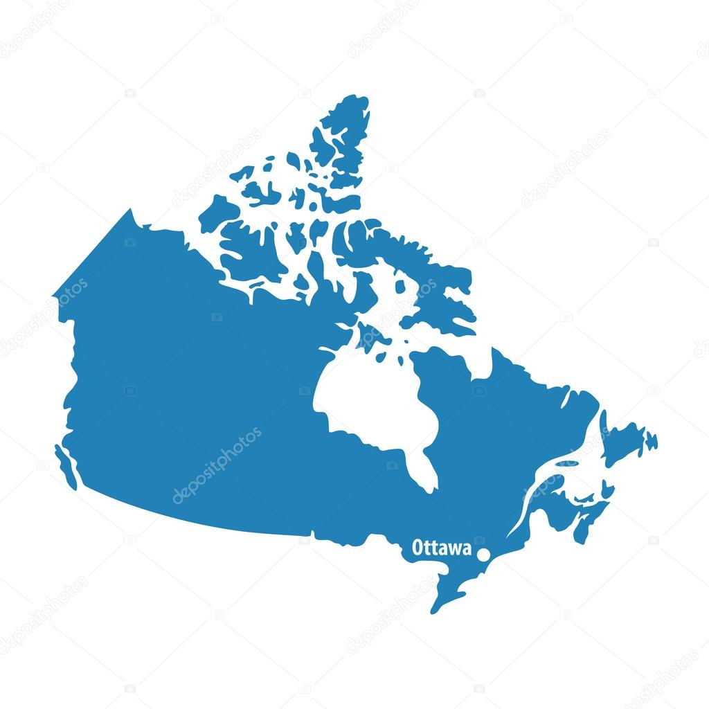 blue similar canada map with capital city ottawa canada map blank stock vector