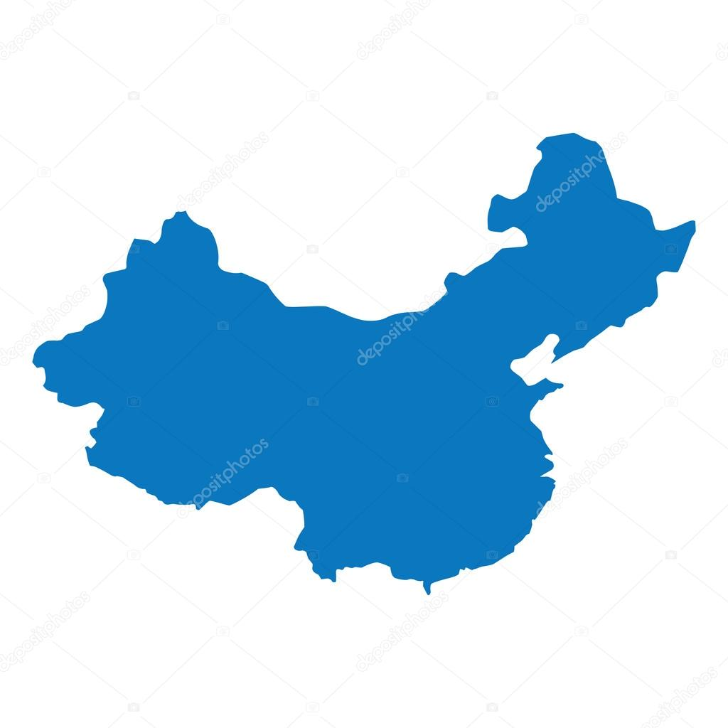 Blaue ähnliche China Landkarte. China-Karte leer. China Karte ...