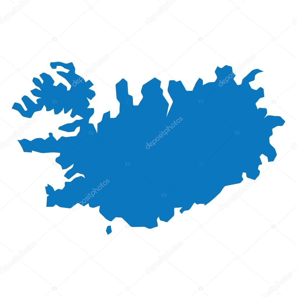 Blue similar Iceland map. Iceland map blank. Iceland map vector ...