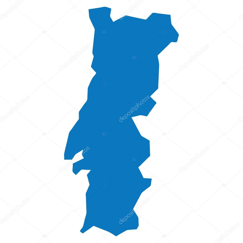 Blue similar Portugal map. Portugal map blank. Portugal map vector ...