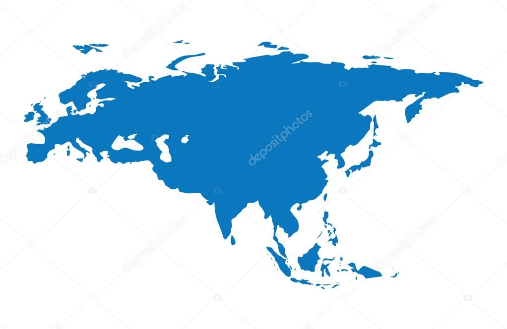 Blue similar Eurasia map Eurasia map blank Eurasia map vector