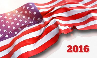 3d illustration of waving American Flag