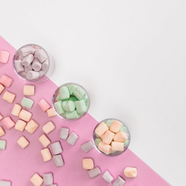 Colorful sweets in glasses