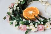 Fotografie Wreath of flowers and fruit