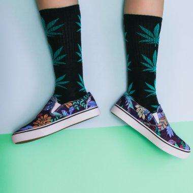 legs in weed print socks