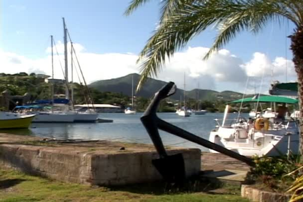 English Harbour with anchor monument