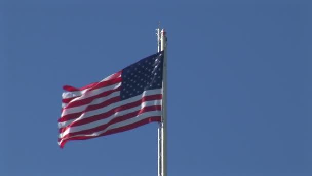 USA flag on sky background