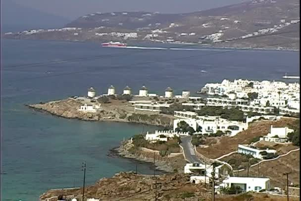 Windmills on Mykonos coast