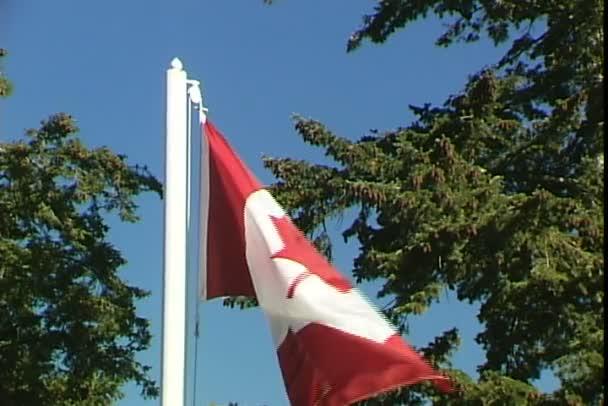 Kanadai zászló a kék ég háttér