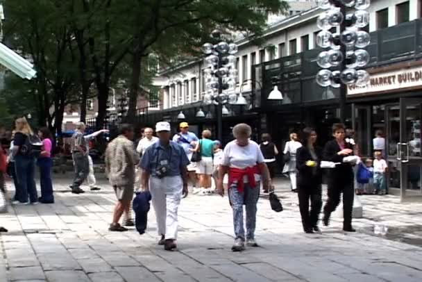 Faneuil Hall with people in Boston,