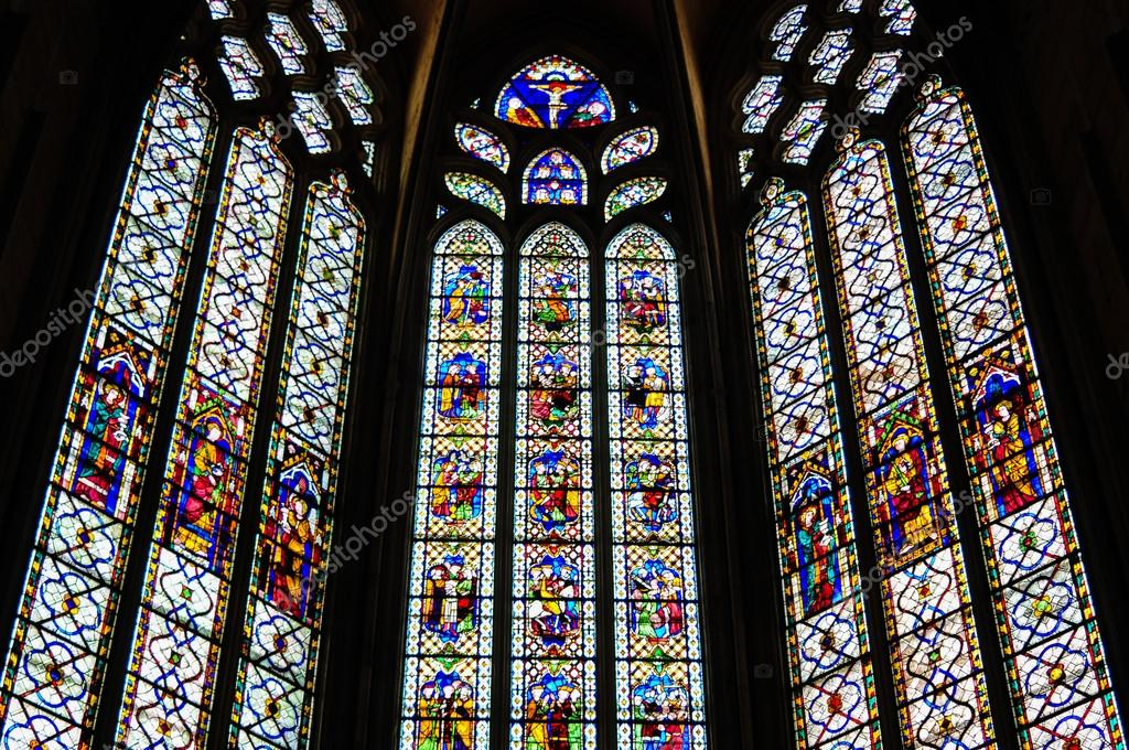 Colored Glass Windows Narbonne Cathedral France Photo By Sunychka