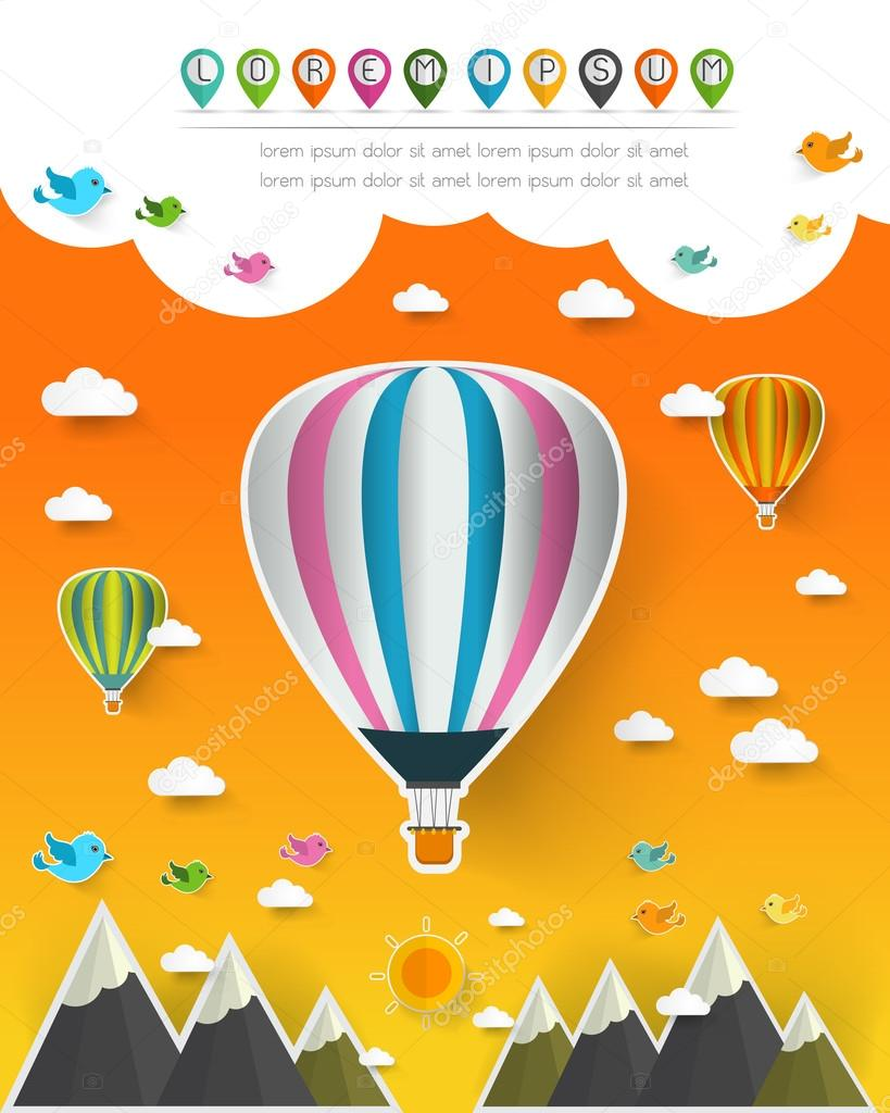 hot air balloon in the sky over moutain,landscape pop up paper c