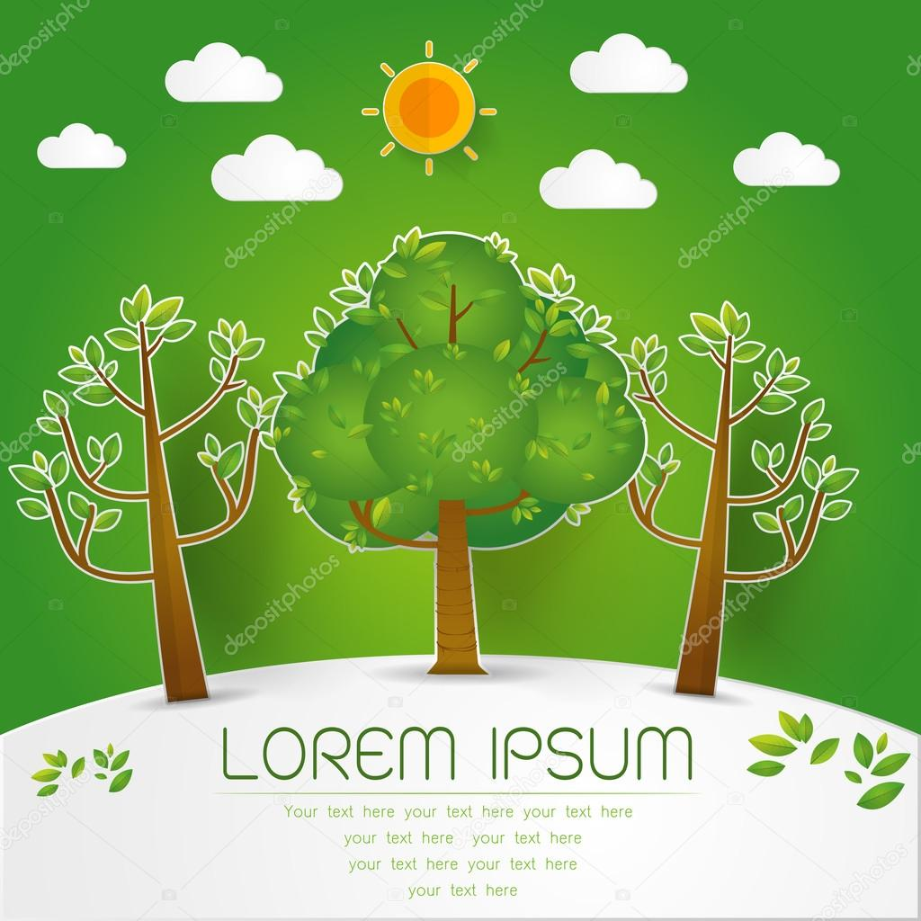template set of green forest trees and bushes pop up paper cut