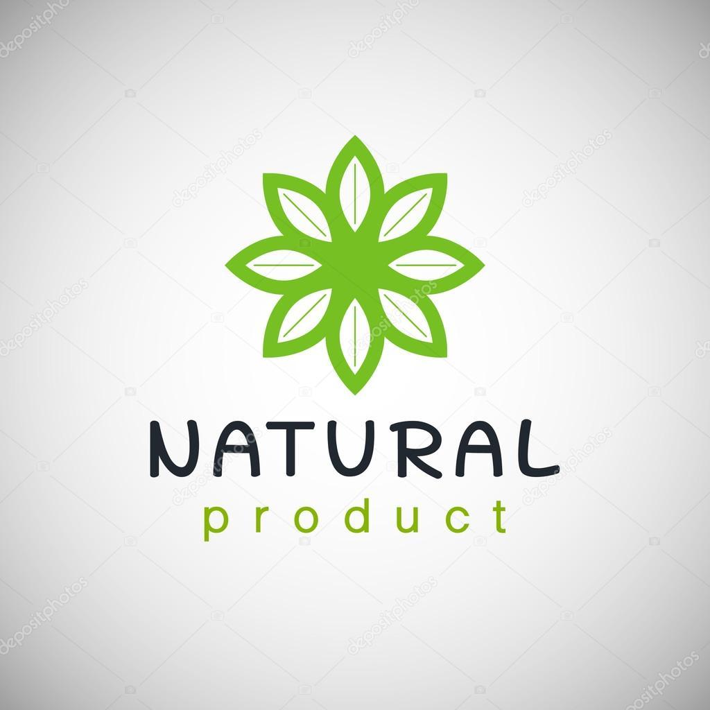 Naturprodukt-Logo-Design-Vorlage. Zweig mit grünen Blättern ...