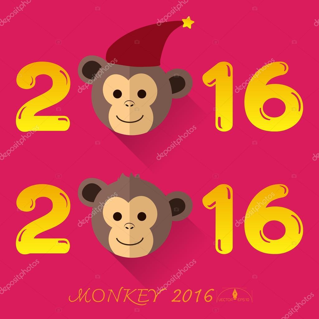 Cute Monkey vector 2016 New Year