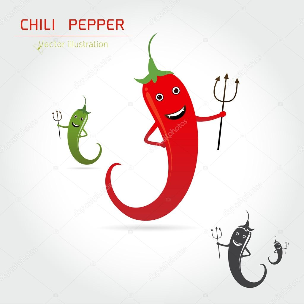 cute cartoon Hot chili pepper