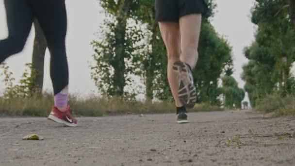Piedi che corre i corridori athletic coppia formazione nel parco, primi piani