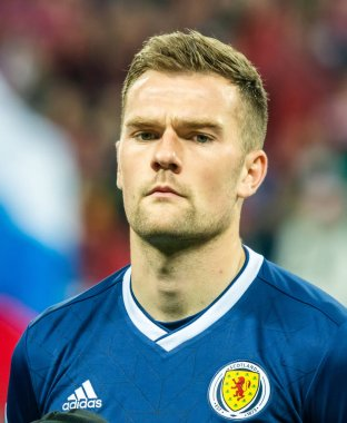 Moscow, Russia - October 10, 2019. Scotland national football team centre back Michael Devlin before UEFA Euro 2020 qualification match Russia vs Scotland (4-0) in Moscow.