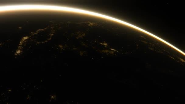 Vesmírná loď létá nad noční stranou planety Země. Filmový záběr naší domovské planety. Pohled na planetu Zemi z vesmíru. 3D animace