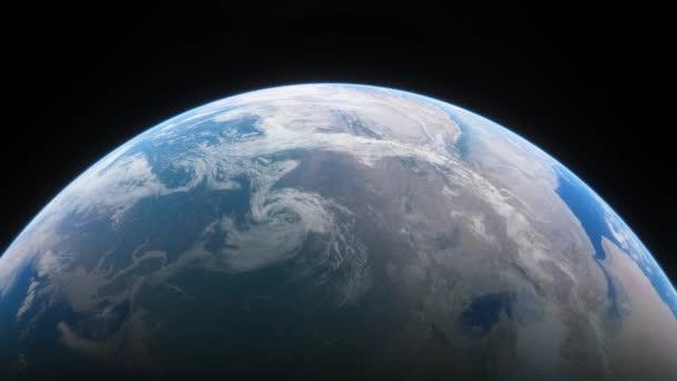 Raumschiff fliegt über den Planeten Erde. Filmaufnahmen unseres Heimatplaneten aus dem All. Blick auf den Planeten Erde aus dem All. 3D-Animation