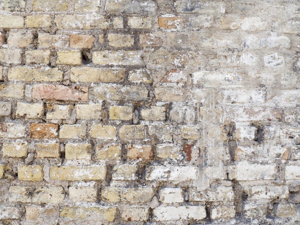 Vecchio Muro Di Mattoni Rustico Danneggiato Con Intonaco Di Fondo Di