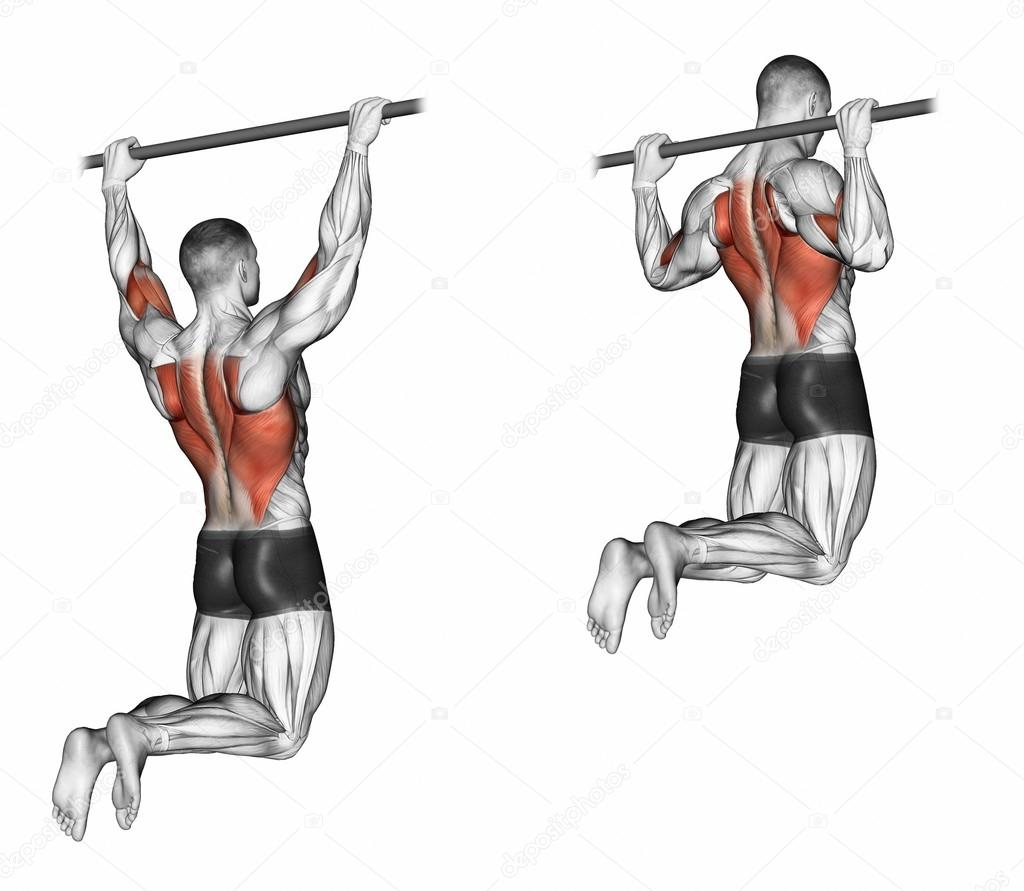 Pull Ups On The Bar Touching The Back Of The Head Stock Photo