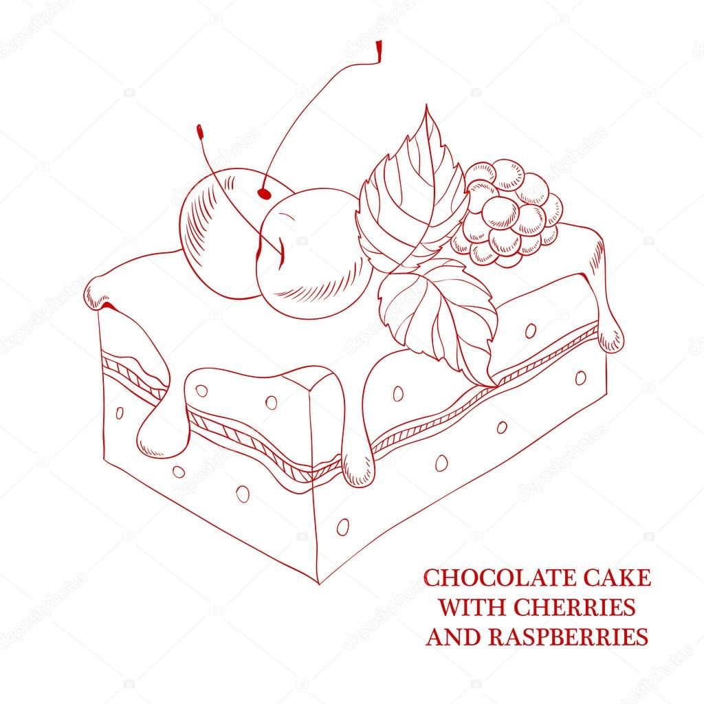 Pastel de chocolate con cerezas y frambuesas — Archivo Imágenes ...