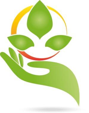 Logo, Hand, Blatt, Heilpraktiker
