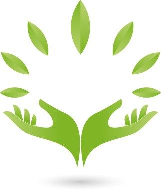 Logo, Zwei, Hand, Blatt, Heilpraktiker
