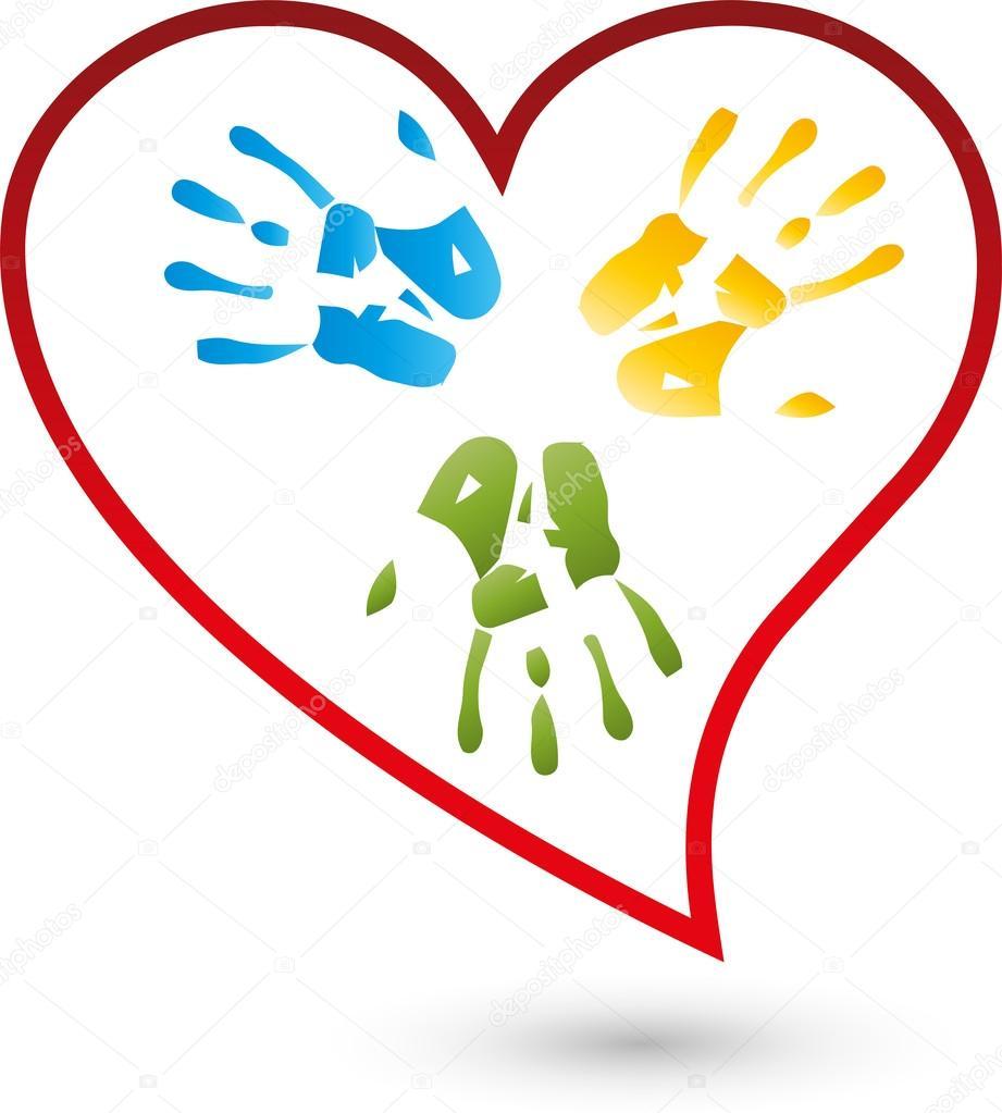 Hand, Herz Logo, Kinder