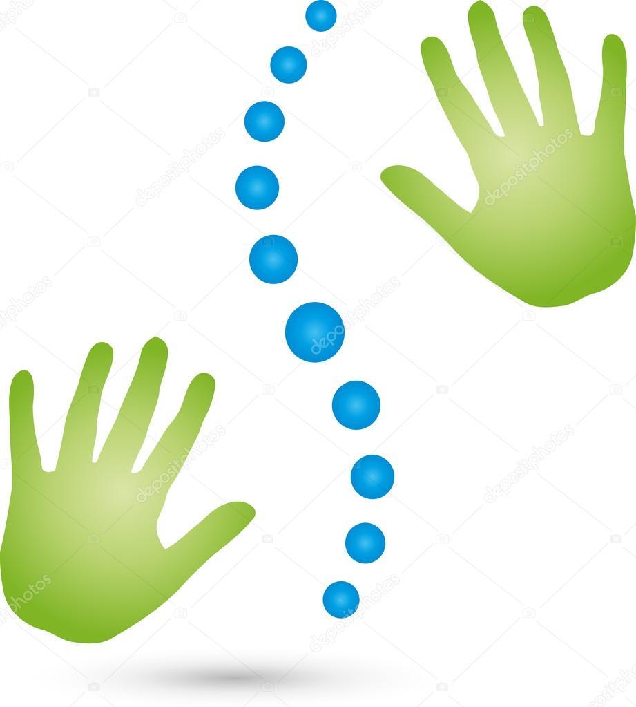 Two hands massage logo spine stock vector elena for Immagini vector