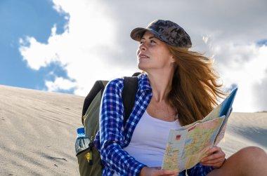 Woman traveller in the desert
