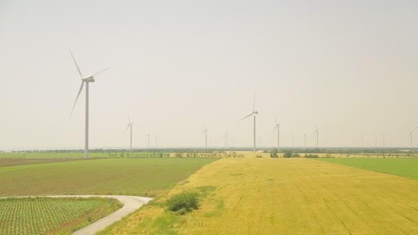 Windkraftanlage auf einem Weizenfeld im Sommer