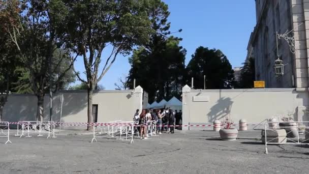 Caserta, Campania, Italy - September 10, 2020: Students at the entrance of the Air Force Specialists School for medical tests in English