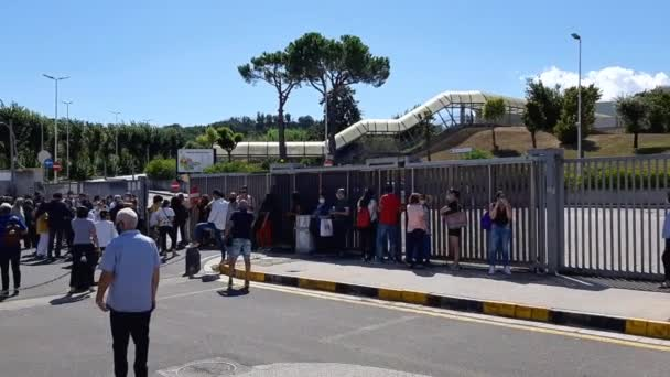 Naples, Campania, Italy - September 1, 2020: People waiting for the exit of the students who took the admission tests to the faculty of veterinary medicine at the Federico II University in Monte Sant'Angelo