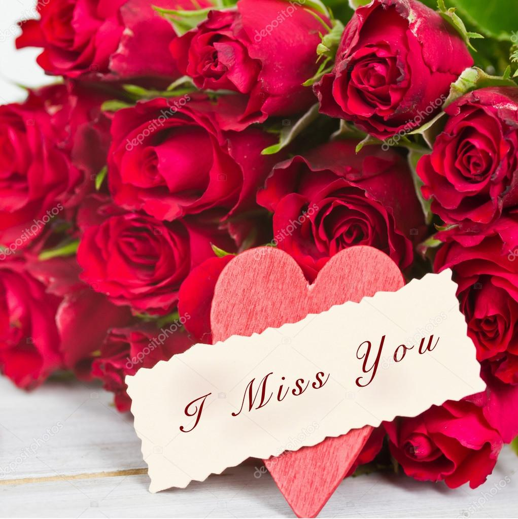 Roses And A Tag I Miss You Stock Photo C Afterday14 Hotmail Com 117914088