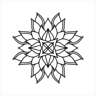 Doodle flower icon isolated on white. Mandala symbol. Sketch vector stock illustration. EPS 10 icon