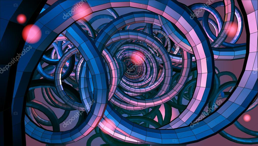 Abstrakte Spiral Draht Hintergrund mit Technologie oder Sci-Fi ...