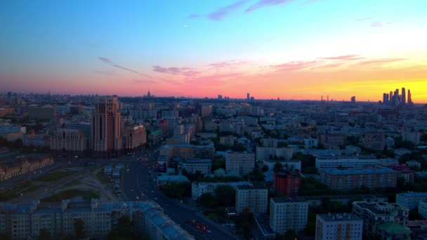 Sunset over the city from a height, Moscow