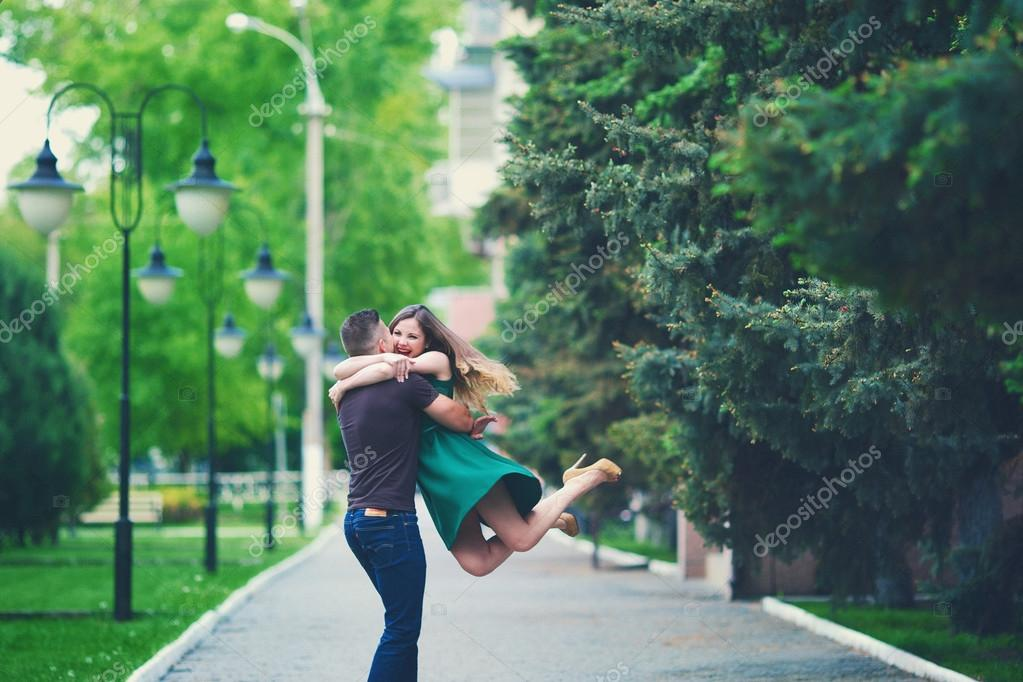 Joyful meeting of a young couple