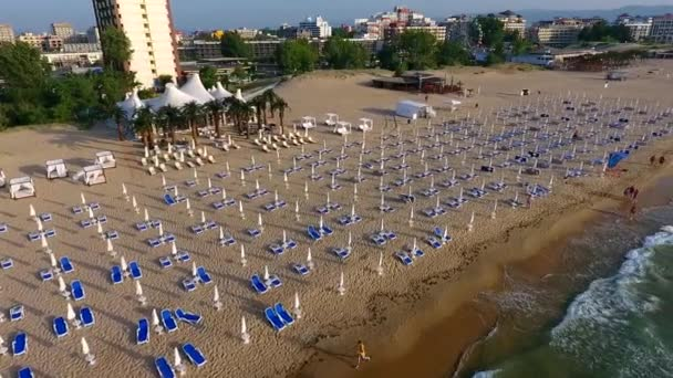 Aerial flight over the beach in Sunny Beach