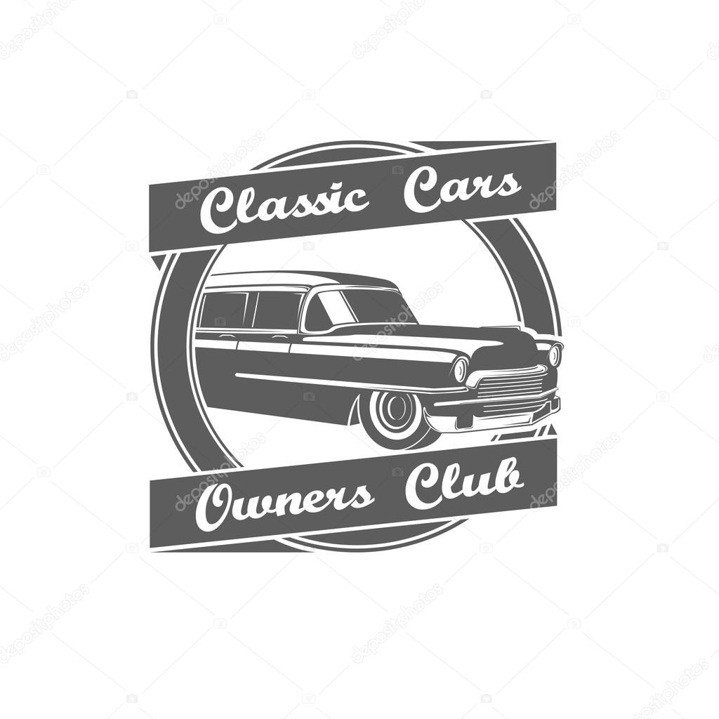 Retro Vintage Classic Cars Owners Club Logo Stock Vector
