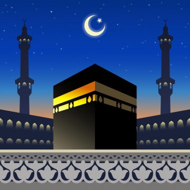 Moonlight Kaaba and mosque silhouette on arabic geometric patter