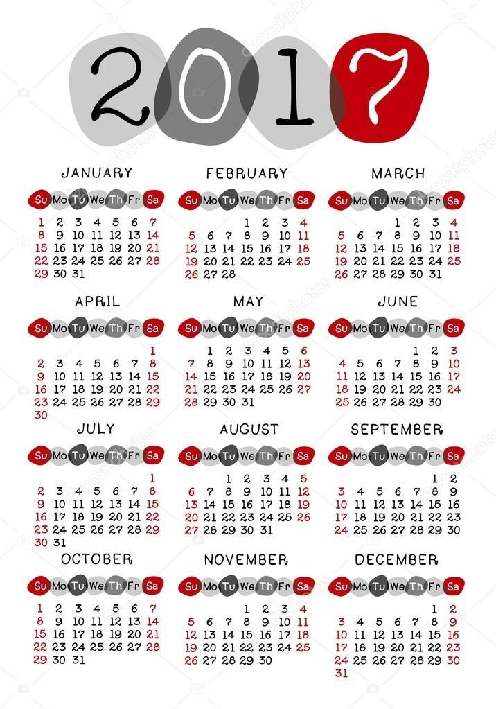 naptár hetekkel Naptár 2017 vektor sablon — Stock Fotó © Lagunculus #117535010 naptár hetekkel