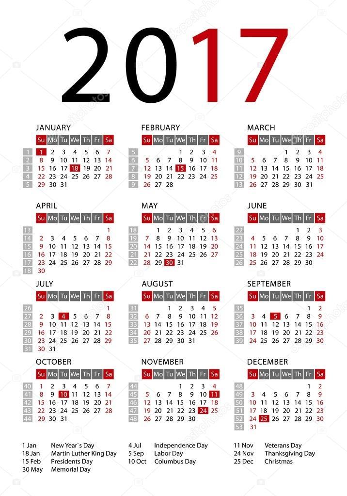 2009 s naptár Calendar 2017 vector template — Stock Photo © Lagunculus #117535014 2009 s naptár