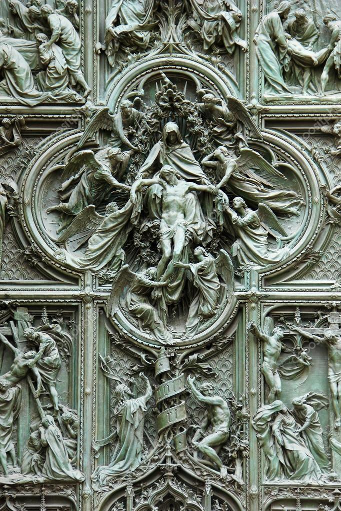Details On The Gate Of The Cathedral Duomo In Milan Italy